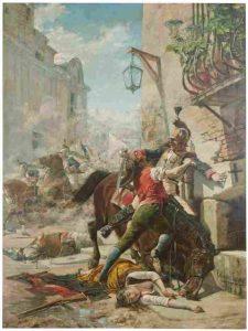 Malasaña y su hija se baten contra los franceses en una de las calles que bajan del parque a la de San Bernardo